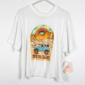 Tops - White Crop Graphic Tee Time To Escape Size XL